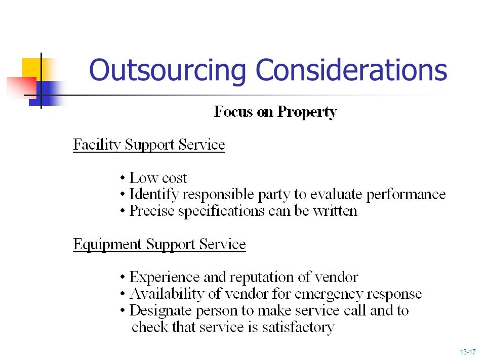 Outsourcing Considerations 13-17