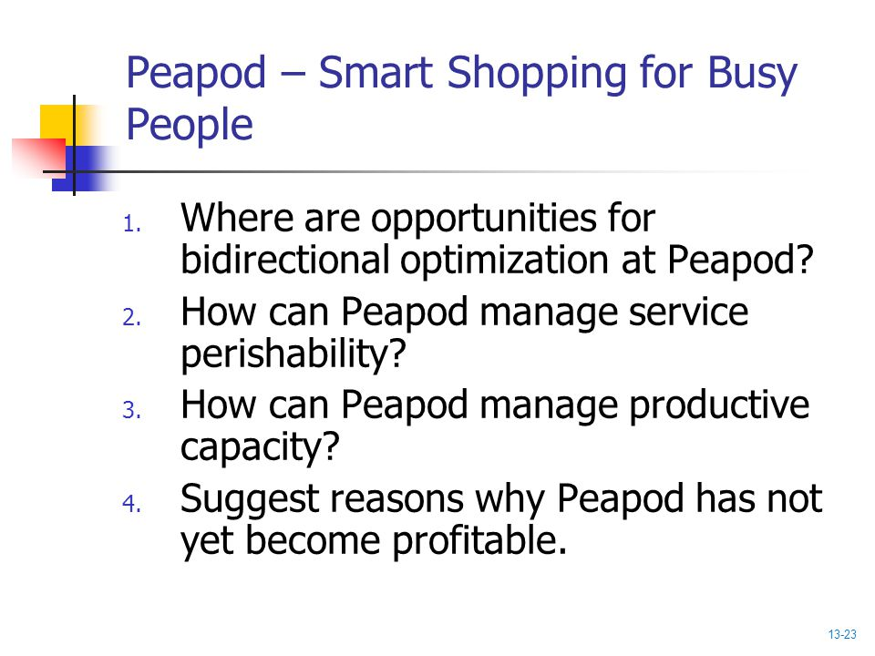 Peapod – Smart Shopping for Busy People 1. Where are opportunities for bidirectional optimization at Peapod? 2. How can Peapod manage service perishab