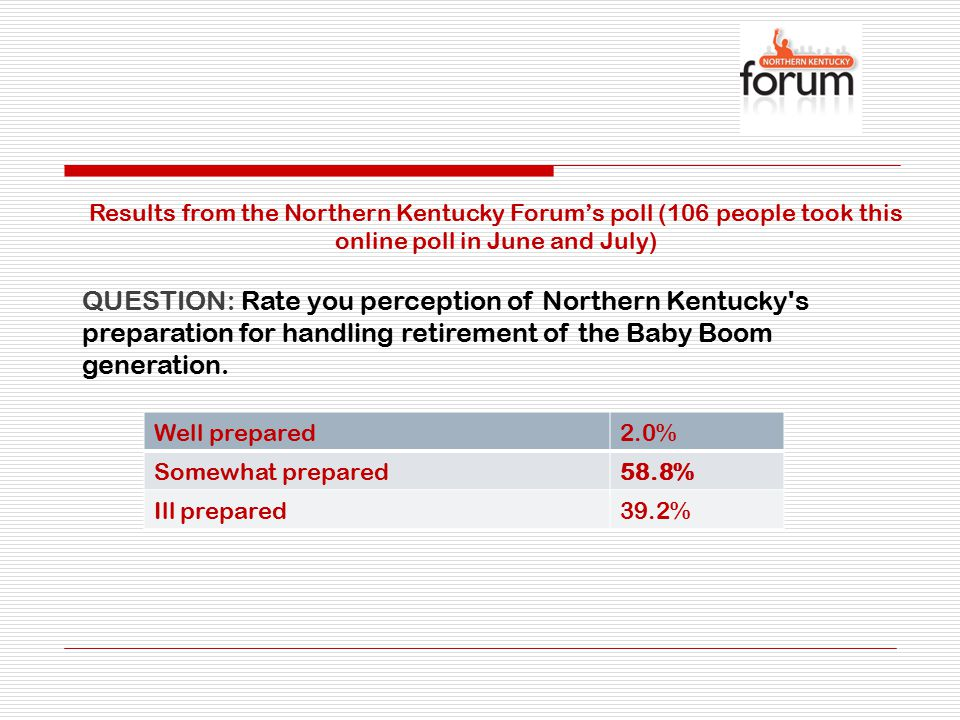 QUESTION: Which services, facilities and infrastructures are in the best shape in Northern Kentucky for handling the Baby Boomer retirees.