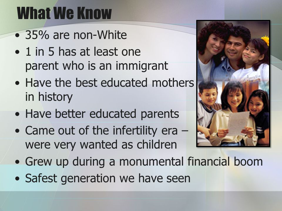 What We Know 35% are non-White 1 in 5 has at least one parent who is an immigrant Have the best educated mothers in history Have better educated parents Came out of the infertility era – were very wanted as children Grew up during a monumental financial boom Safest generation we have seen
