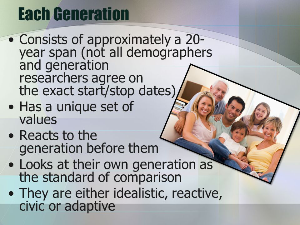 Each Generation Consists of approximately a 20- year span (not all demographers and generation researchers agree on the exact start/stop dates) Has a unique set of values Reacts to the generation before them Looks at their own generation as the standard of comparison They are either idealistic, reactive, civic or adaptive