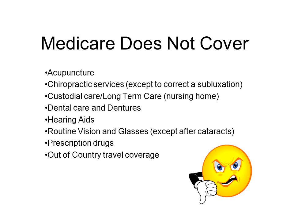 Medicare Does Not Cover Acupuncture Chiropractic services (except to correct a subluxation) Custodial care/Long Term Care (nursing home) Dental care a