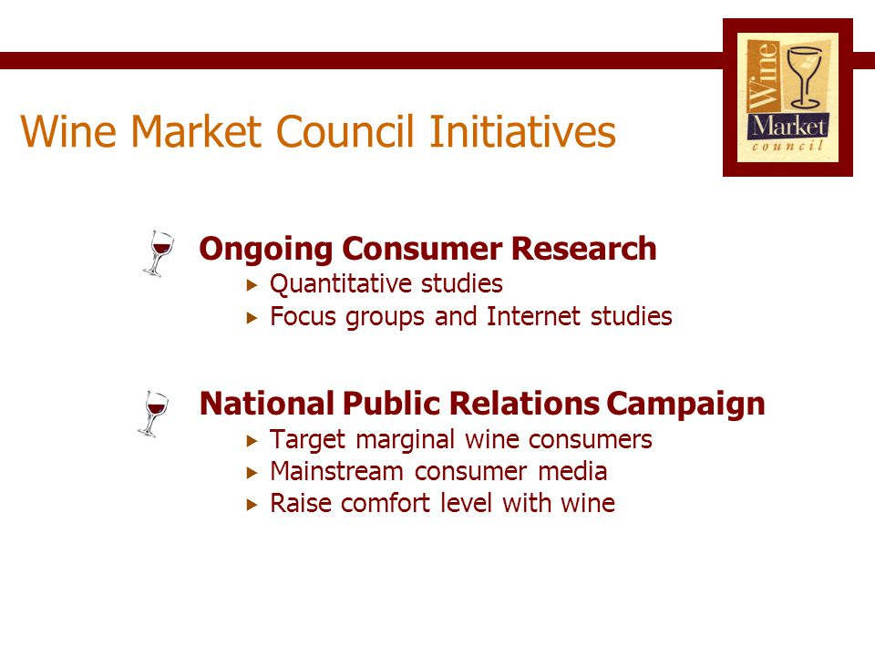 Don't drink wine 43% Drink wine 57% (Ages 21 – Plus) Beverage Alcohol Consumers, 2007 Source: Merrill Research 75 M 56 M