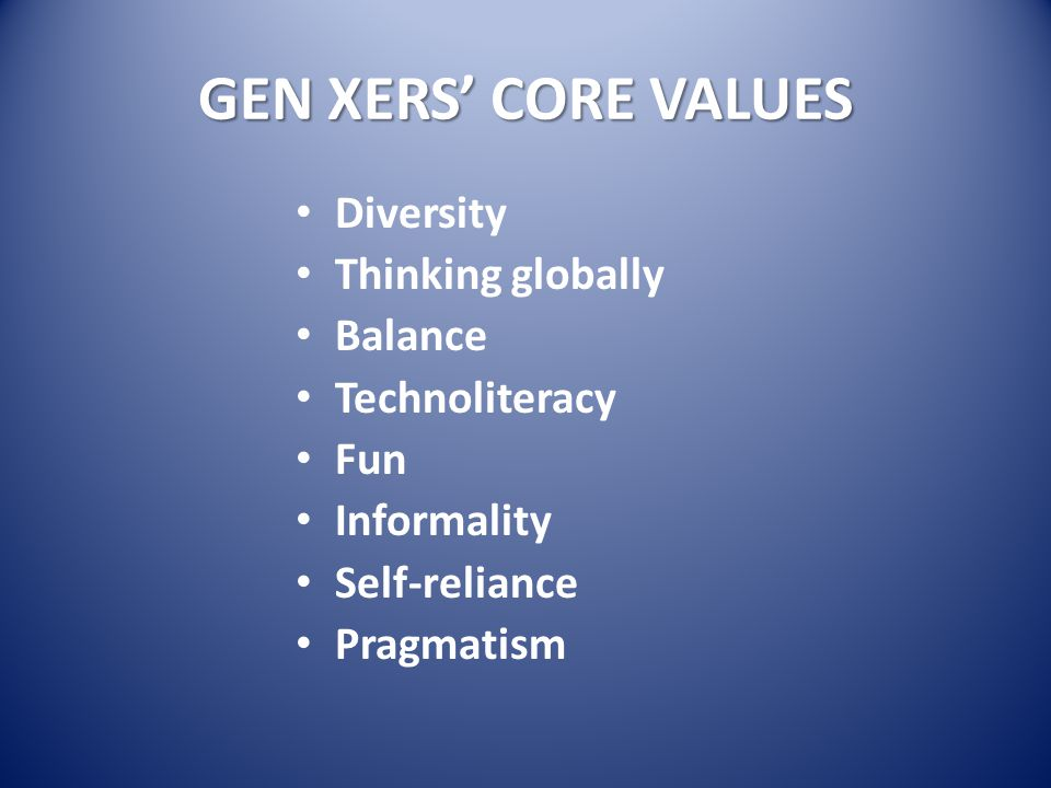 GEN XERS' CORE VALUES Diversity Thinking globally Balance Technoliteracy Fun Informality Self-reliance Pragmatism