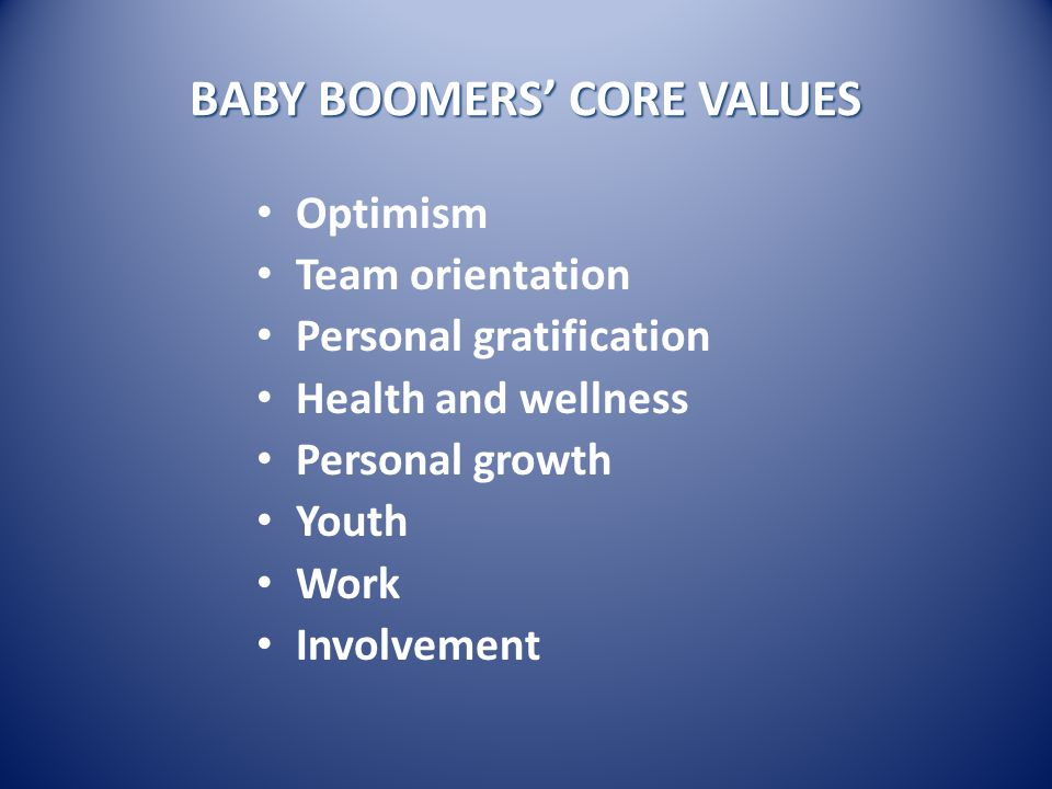 WHAT THEY SAY ABOUT BABY BOOMERS They're self-righteous.