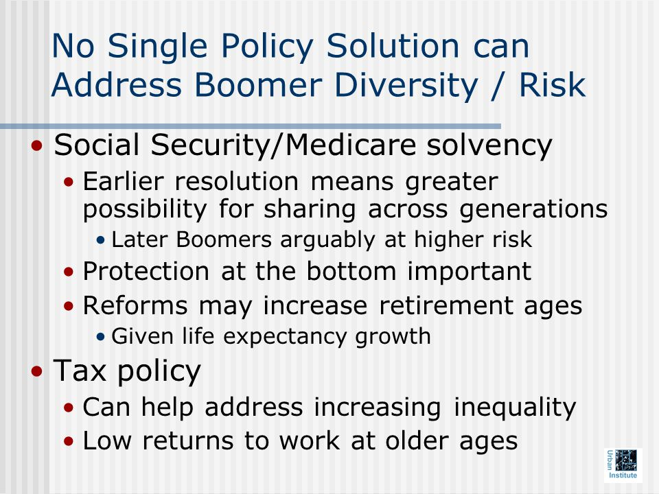 No Single Policy Solution can Address Boomer Diversity / Risk Social Security/Medicare solvency Earlier resolution means greater possibility for sharing across generations Later Boomers arguably at higher risk Protection at the bottom important Reforms may increase retirement ages Given life expectancy growth Tax policy Can help address increasing inequality Low returns to work at older ages