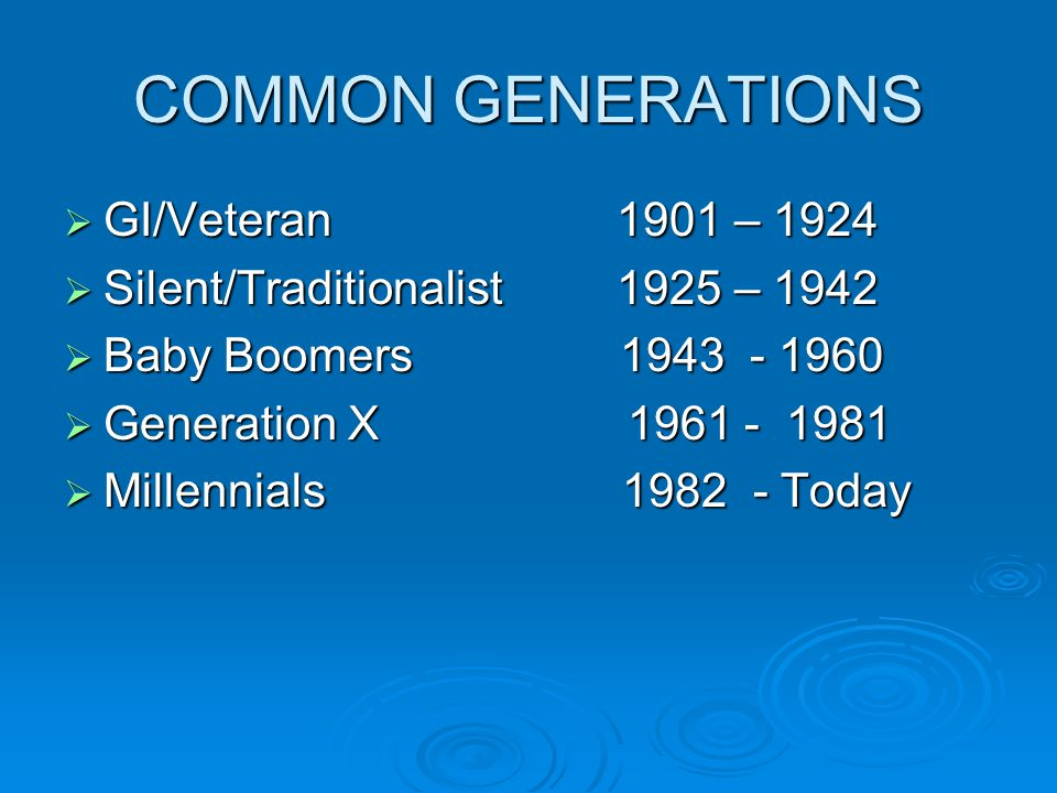 COMMON GENERATIONS  GI/Veteran 1901 – 1924  Silent/Traditionalist 1925 – 1942  Baby Boomers 1943 - 1960  Generation X 1961 - 1981  Millennials 1982 - Today