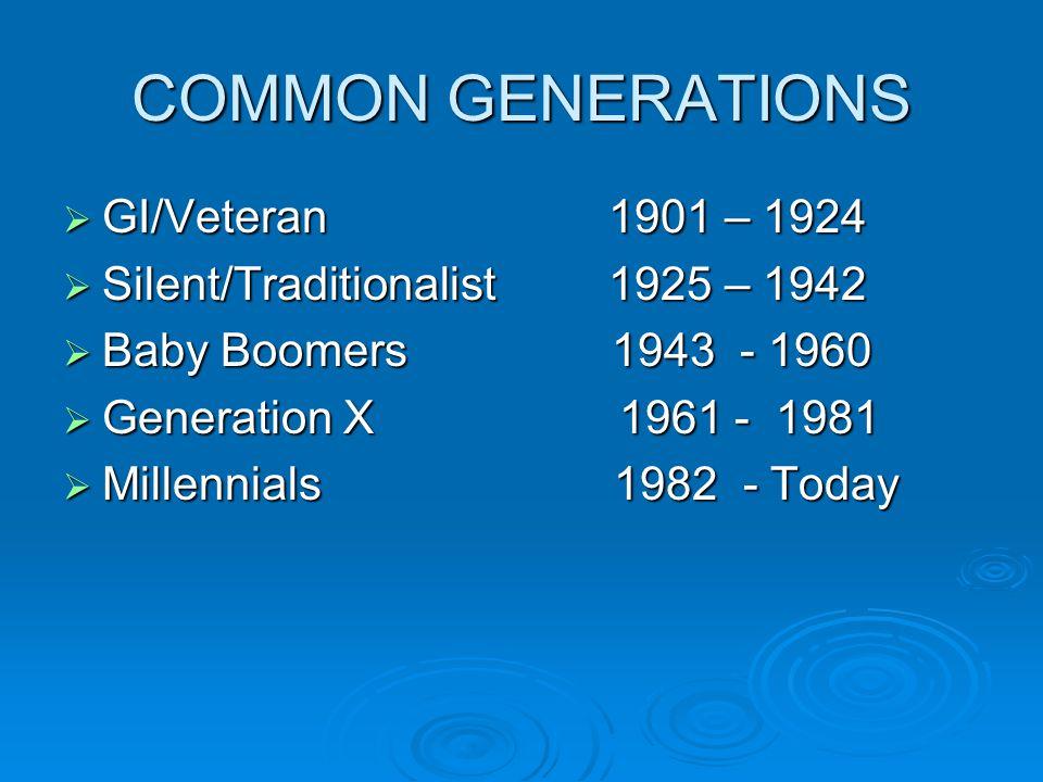 COMMON GENERATIONS  GI/Veteran 1901 – 1924  Silent/Traditionalist 1925 – 1942  Baby Boomers 1943 - 1960  Generation X 1961 - 1981  Millennials 19