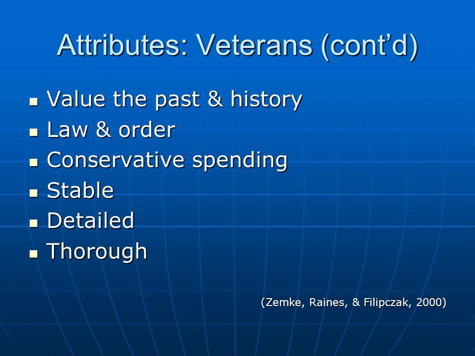 Attributes: Veterans (cont'd) Value the past & history Value the past & history Law & order Law & order Conservative spending Conservative spending Stable Stable Detailed Detailed Thorough Thorough (Zemke, Raines, & Filipczak, 2000)