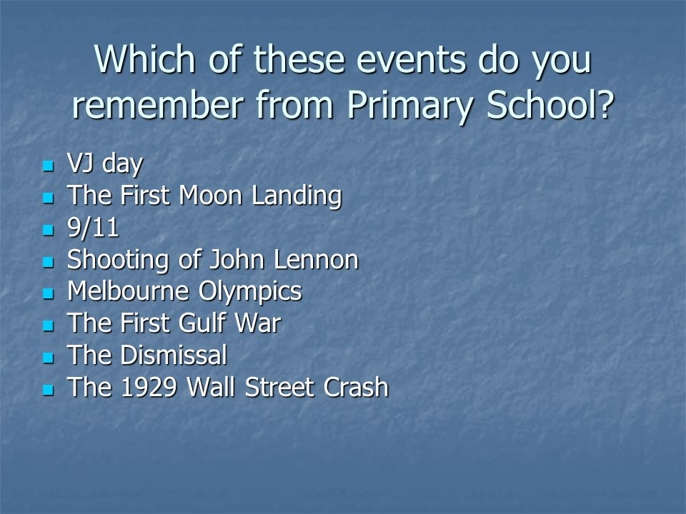 Which of these events do you remember from Primary School.