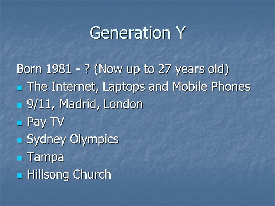 Generation Y Born 1981 - .
