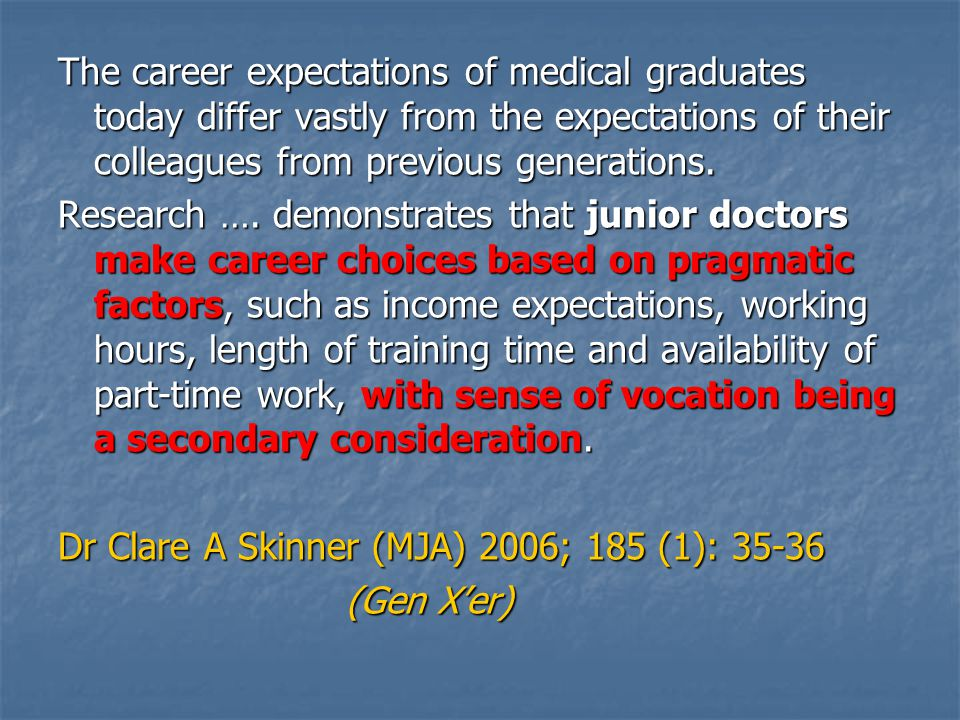 The career expectations of medical graduates today differ vastly from the expectations of their colleagues from previous generations.