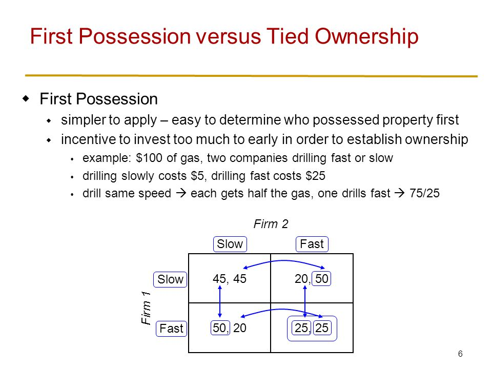 6  First Possession  simpler to apply – easy to determine who possessed property first  incentive to invest too much to early in order to establish ownership  example: $100 of gas, two companies drilling fast or slow  drilling slowly costs $5, drilling fast costs $25  drill same speed  each gets half the gas, one drills fast  75/25 First Possession versus Tied Ownership 45, 4520, 50 50, 2025, 25 SlowFast Slow Fast Firm 2 Firm 1