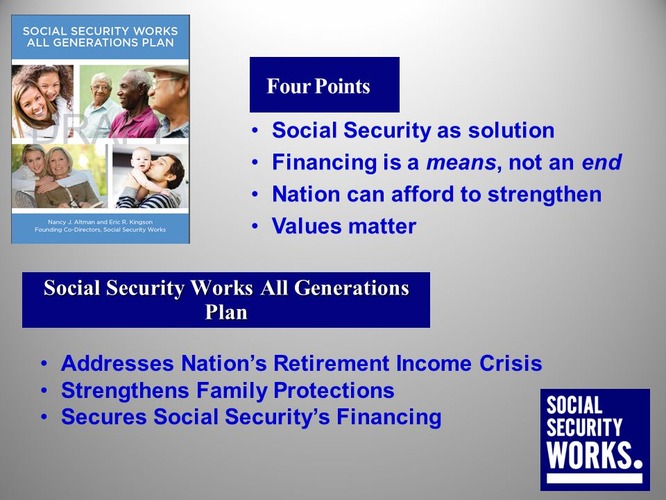 Social Security Works All Generations Plan Addresses Nation's Retirement Income Crisis Strengthens Family Protections Secures Social Security's Financ