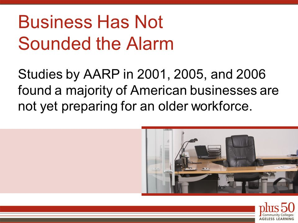 Business Has Not Sounded the Alarm Studies by AARP in 2001, 2005, and 2006 found a majority of American businesses are not yet preparing for an older workforce.