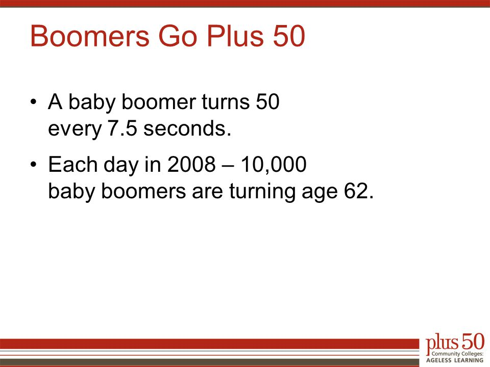 A baby boomer turns 50 every 7.5 seconds.