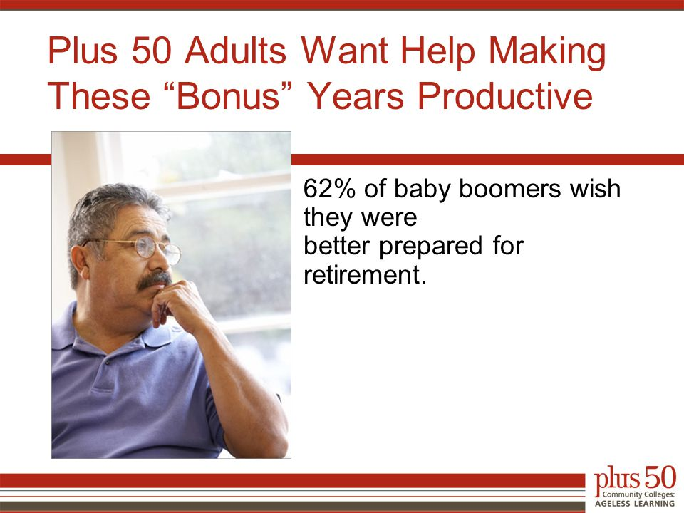 Plus 50 Adults Want Help Making These Bonus Years Productive 62% of baby boomers wish they were better prepared for retirement.