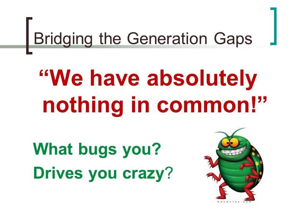 Bridging the Generation Gaps We have absolutely nothing in common! What bugs you.
