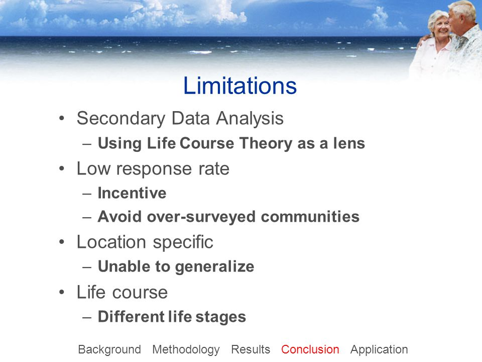 Limitations Secondary Data Analysis –Using Life Course Theory as a lens Low response rate –Incentive –Avoid over-surveyed communities Location specific –Unable to generalize Life course –Different life stages Background Methodology Results Conclusion Application
