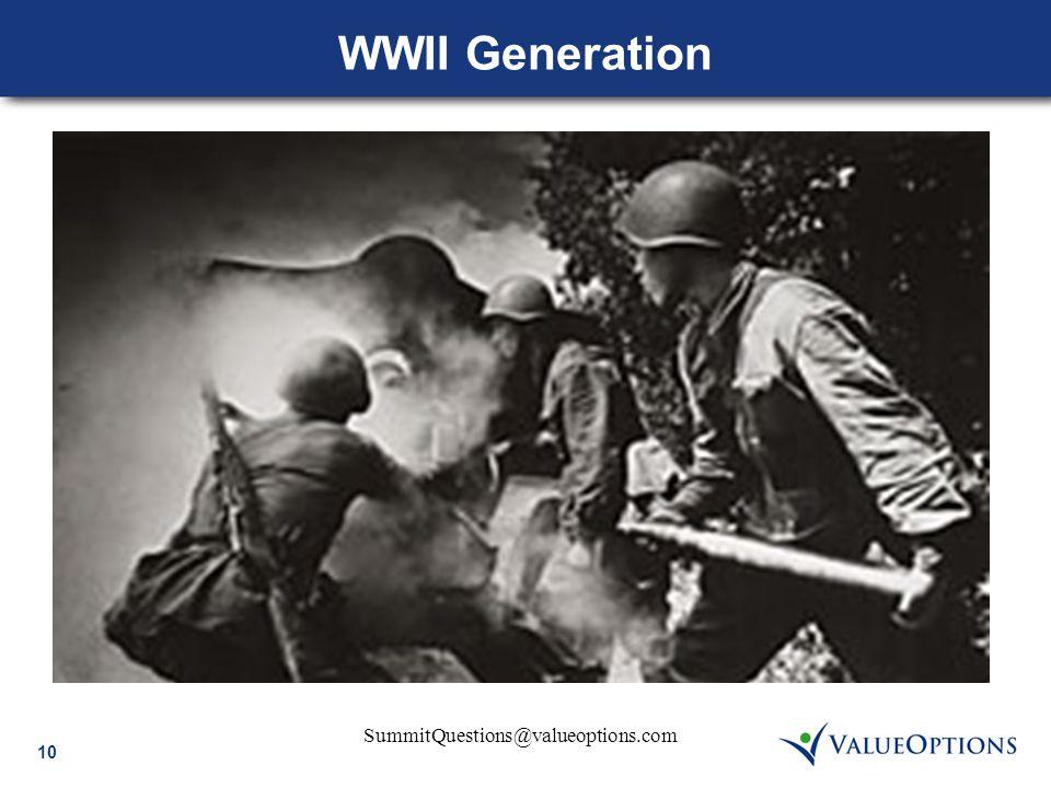 10 SummitQuestions@valueoptions.com WWII Generation