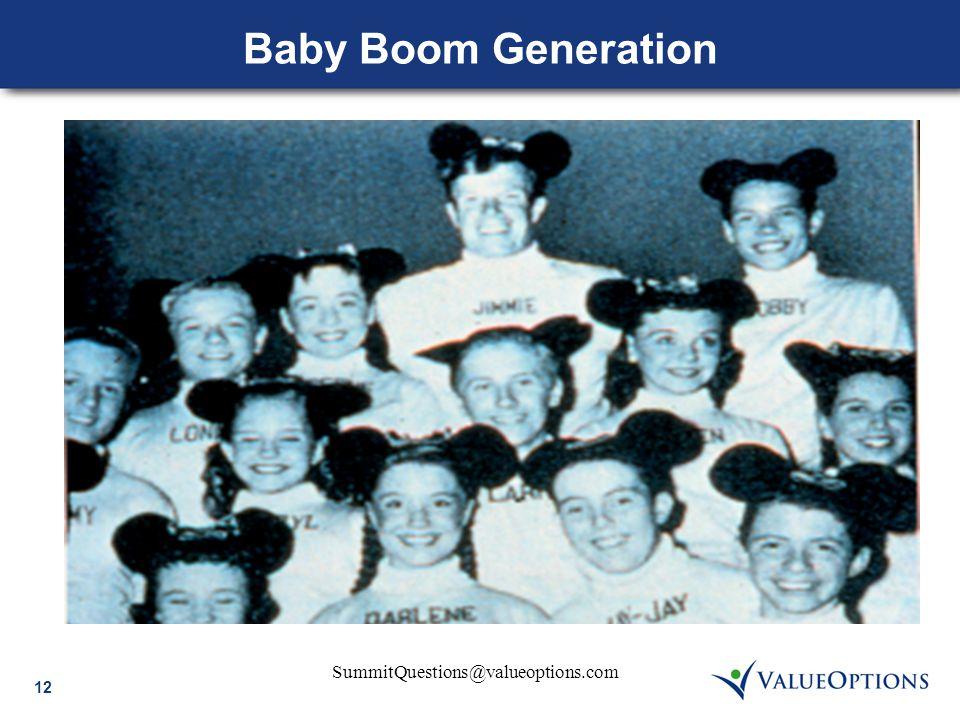 12 SummitQuestions@valueoptions.com Baby Boom Generation