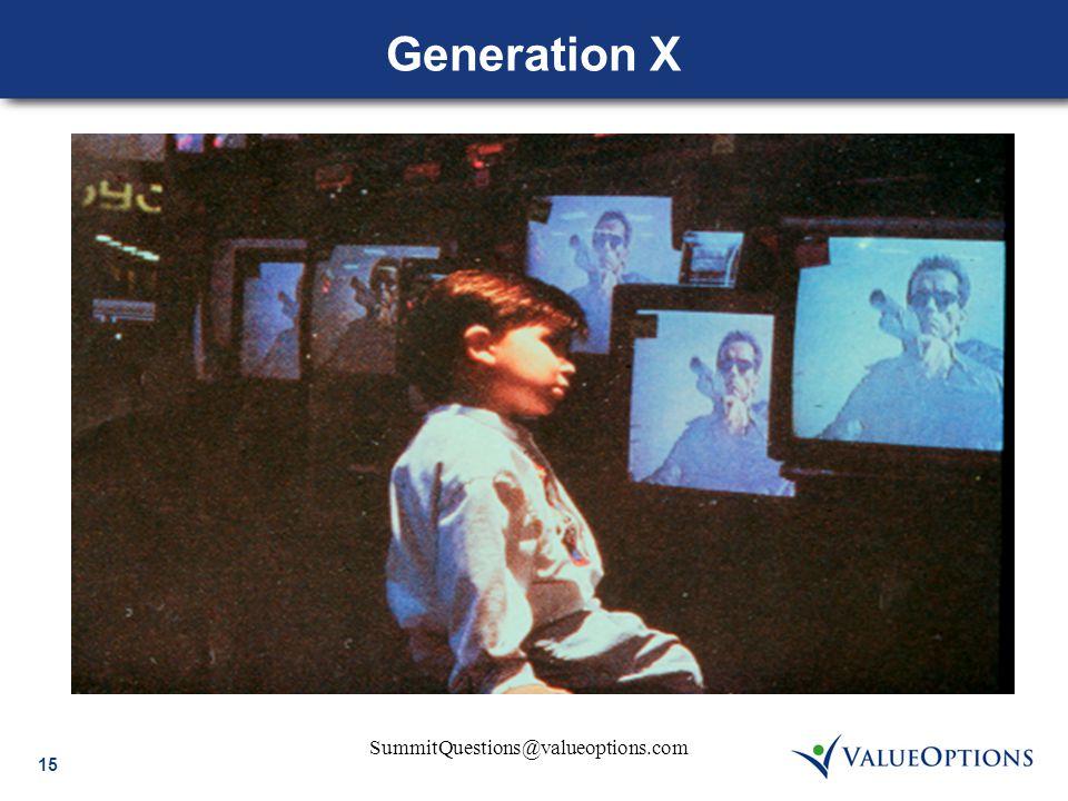 15 SummitQuestions@valueoptions.com Generation X