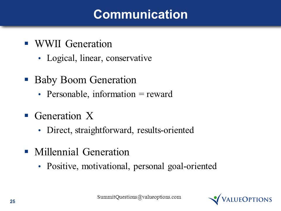 25 SummitQuestions@valueoptions.com Communication  WWII Generation Logical, linear, conservative  Baby Boom Generation Personable, information = rew