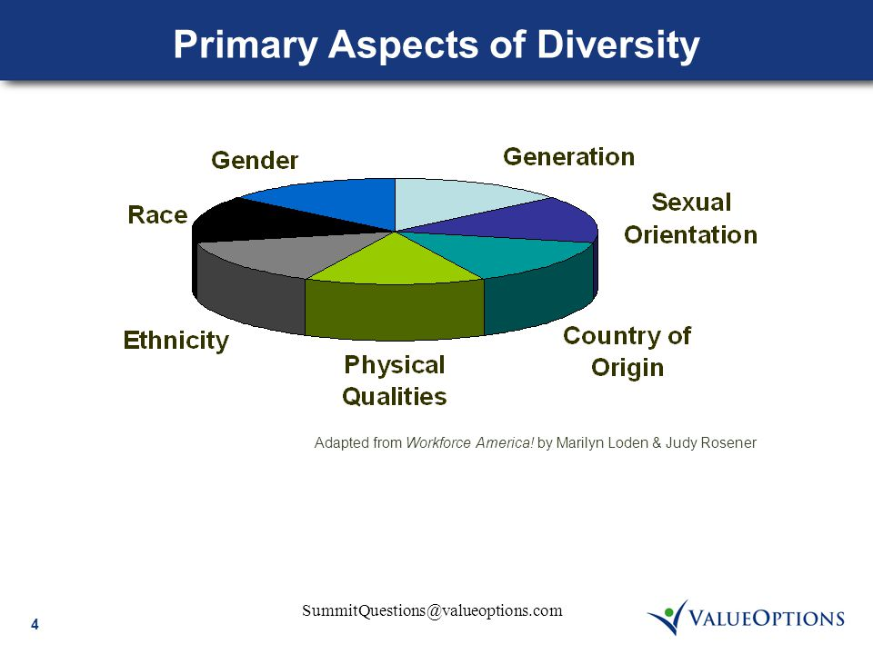 4 SummitQuestions@valueoptions.com Primary Aspects of Diversity Adapted from Workforce America! by Marilyn Loden & Judy Rosener