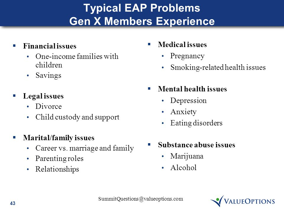 43 SummitQuestions@valueoptions.com Typical EAP Problems Gen X Members Experience  Financial issues One-income families with children Savings  Legal