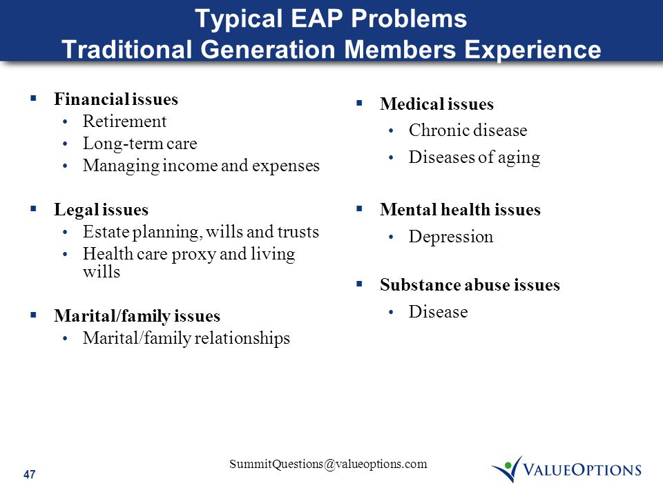 47 SummitQuestions@valueoptions.com Typical EAP Problems Traditional Generation Members Experience  Financial issues Retirement Long-term care Managi