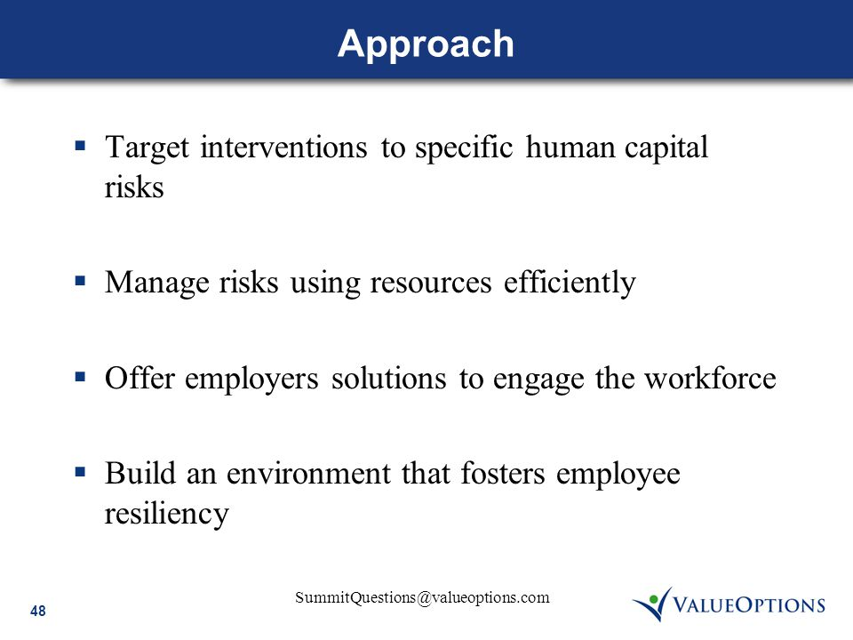 48 SummitQuestions@valueoptions.com Approach  Target interventions to specific human capital risks  Manage risks using resources efficiently  Offer