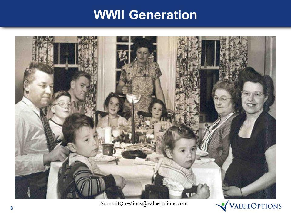 8 SummitQuestions@valueoptions.com WWII Generation