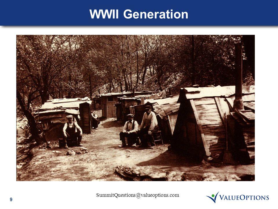 9 SummitQuestions@valueoptions.com WWII Generation