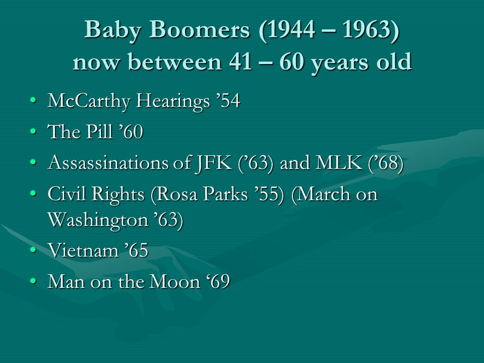 Baby Boomers (1944 – 1963) now between 41 – 60 years old McCarthy Hearings '54McCarthy Hearings '54 The Pill '60The Pill '60 Assassinations of JFK ('63) and MLK ('68)Assassinations of JFK ('63) and MLK ('68) Civil Rights (Rosa Parks '55) (March on Washington '63)Civil Rights (Rosa Parks '55) (March on Washington '63) Vietnam '65Vietnam '65 Man on the Moon '69Man on the Moon '69