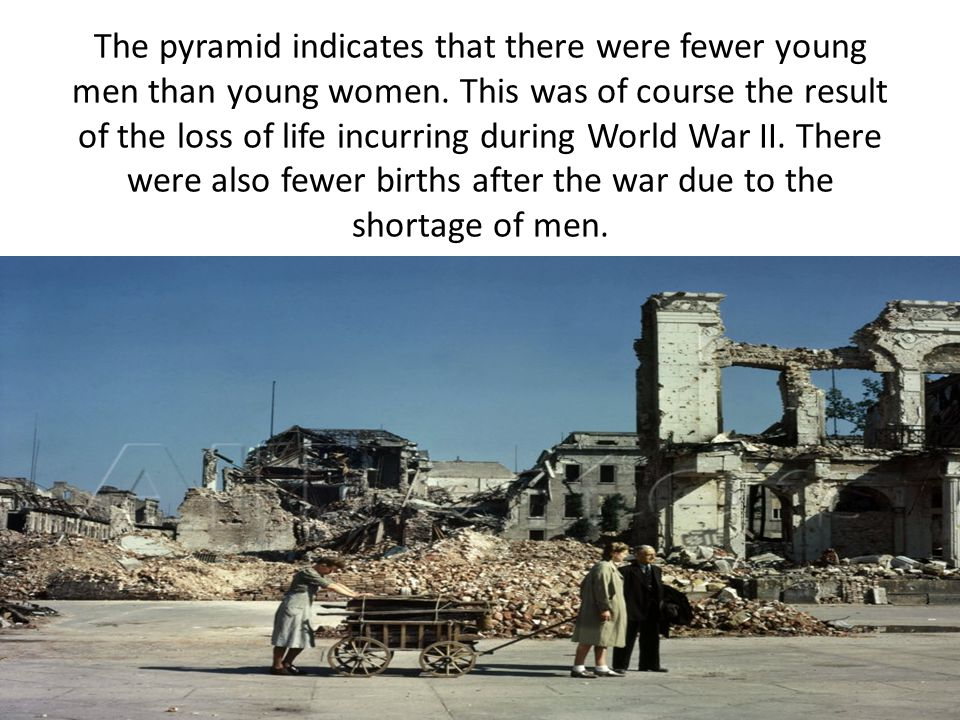 The pyramid indicates that there were fewer young men than young women. This was of course the result of the loss of life incurring during World War I