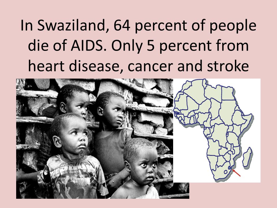 In Swaziland, 64 percent of people die of AIDS. Only 5 percent from heart disease, cancer and stroke