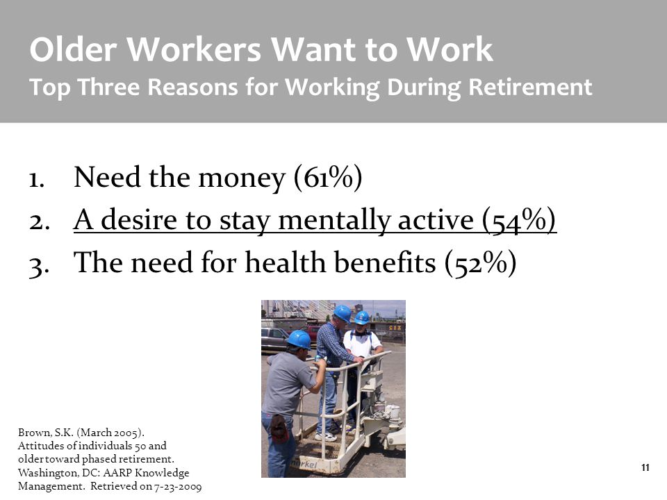 Designing the Age Friendly Workplace11 Older Workers Want to Work Top Three Reasons for Working During Retirement 1.Need the money (61%) 2.A desire to stay mentally active (54%) 3.The need for health benefits (52%) Brown, S.K.