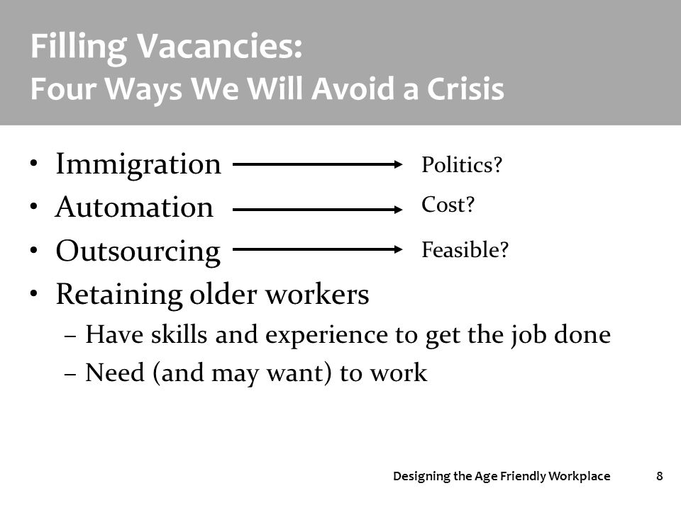 Designing the Age Friendly Workplace8 Filling Vacancies: Four Ways We Will Avoid a Crisis Immigration Automation Outsourcing Retaining older workers –Have skills and experience to get the job done –Need (and may want) to work Politics.