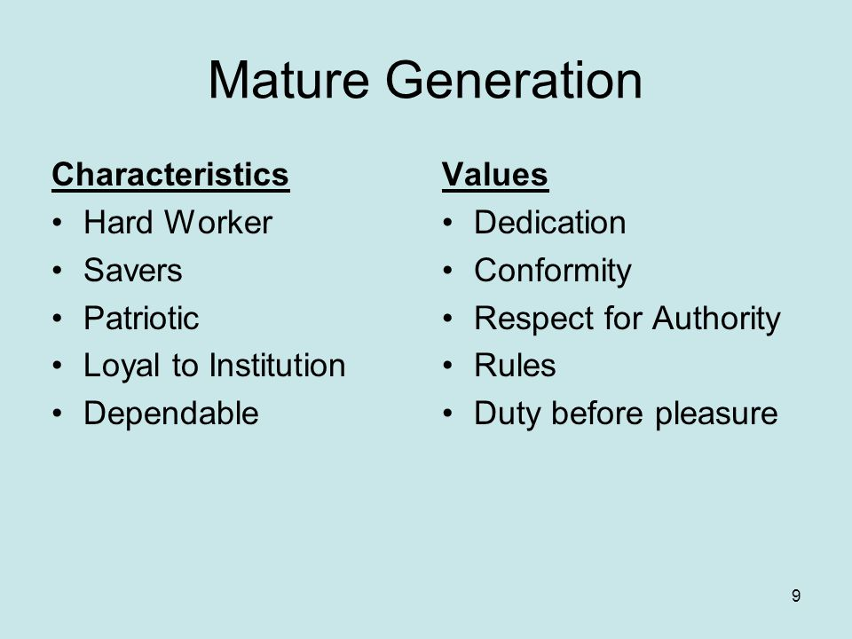 Generation Y (Millennials) Characteristics Optimistic Confidence Education minded Separate work/life Extreme fun Multi-task Short Attention Span Value Diversity Constant Communication Instant information Quick Decisions Relationship with mature generation 20