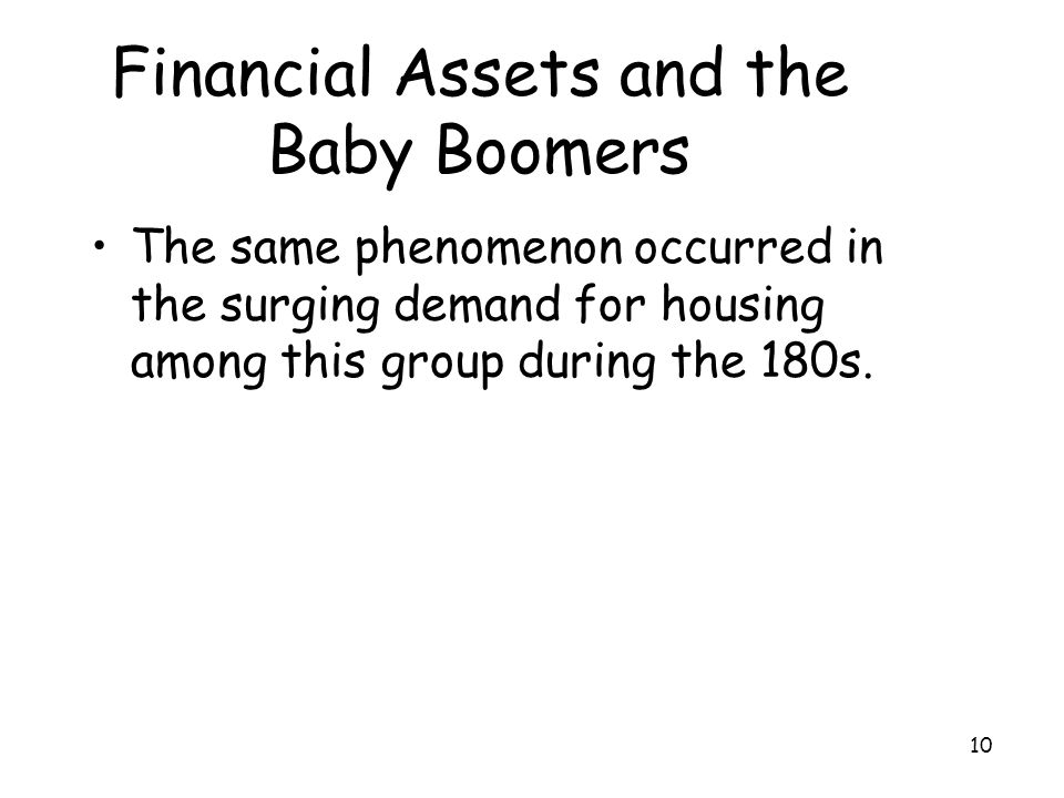 10 Financial Assets and the Baby Boomers The same phenomenon occurred in the surging demand for housing among this group during the 180s.
