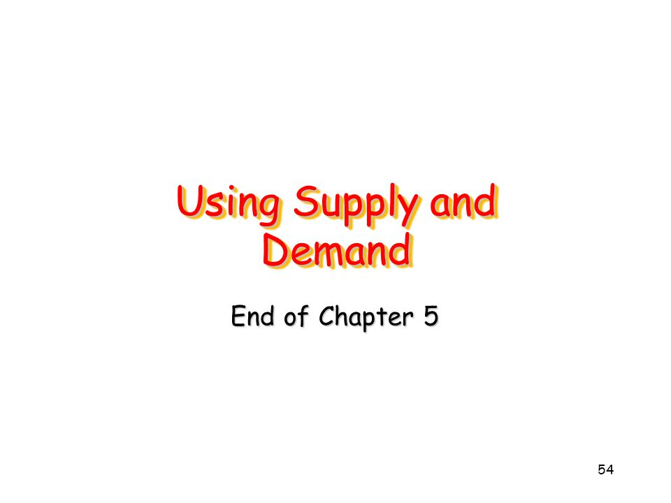 54 Using Supply and Demand End of Chapter 5