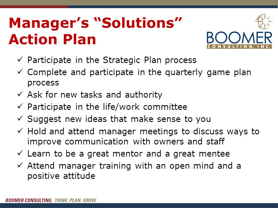"""Manager's """"Solutions"""" Action Plan Participate in the Strategic Plan process Complete and participate in the quarterly game plan process Ask for new ta"""
