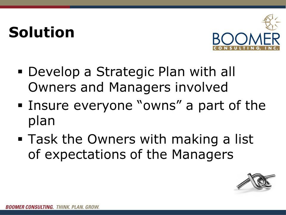 """Solution  Develop a Strategic Plan with all Owners and Managers involved  Insure everyone """"owns"""" a part of the plan  Task the Owners with making a"""