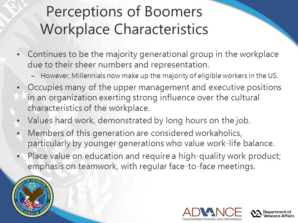 Perceptions of Boomers Workplace Characteristics Continues to be the majority generational group in the workplace due to their sheer numbers and representation.