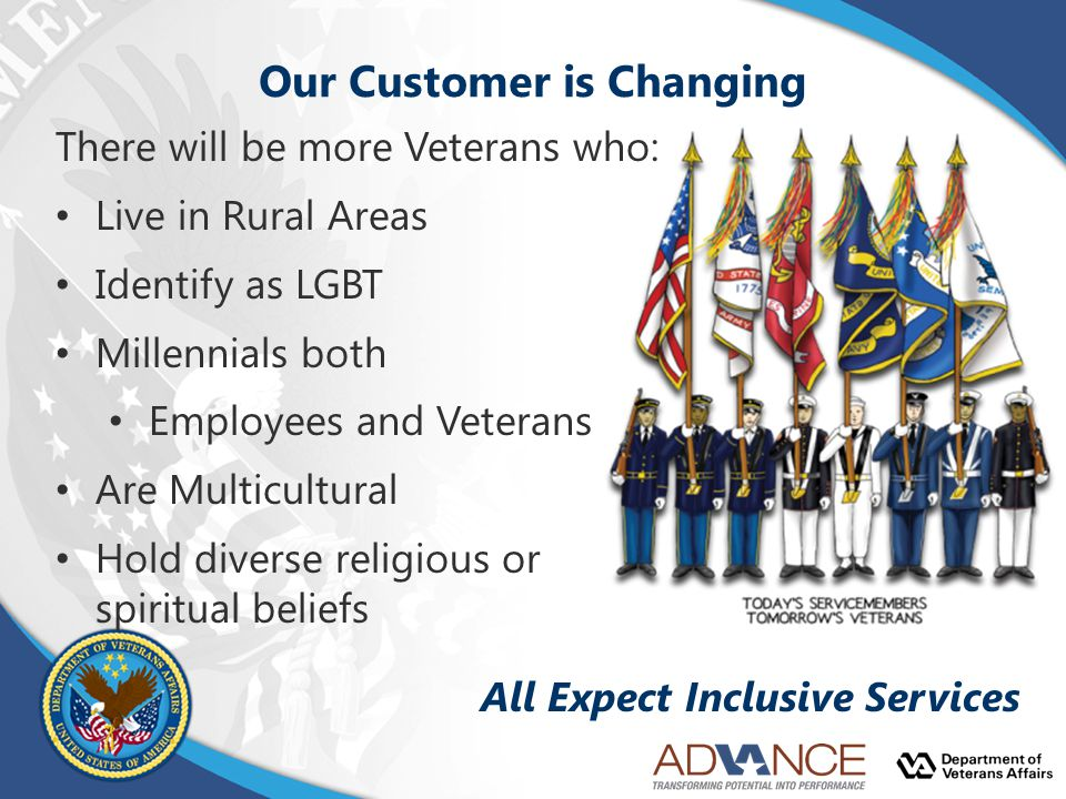 Our Customer is Changing There will be more Veterans who: Live in Rural Areas Identify as LGBT Millennials both Employees and Veterans Are Multicultural Hold diverse religious or spiritual beliefs All Expect Inclusive Services