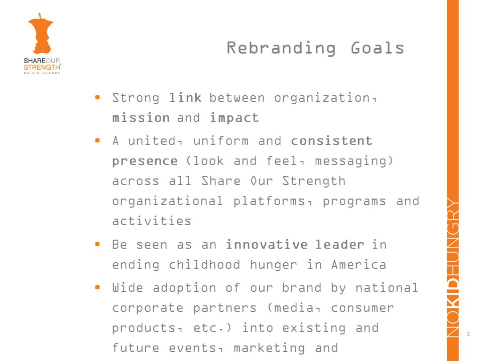 3 Rebranding Goals Strong link between organization, mission and impact A united, uniform and consistent presence (look and feel, messaging) across all Share Our Strength organizational platforms, programs and activities Be seen as an innovative leader in ending childhood hunger in America Wide adoption of our brand by national corporate partners (media, consumer products, etc.) into existing and future events, marketing and communications channels Broad awareness of Share Our Strength