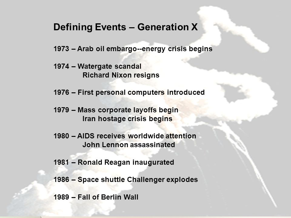 Defining Events – Generation X 1973 – Arab oil embargo--energy crisis begins 1974 – Watergate scandal Richard Nixon resigns 1976 – First personal computers introduced 1979 – Mass corporate layoffs begin Iran hostage crisis begins 1980 – AIDS receives worldwide attention John Lennon assassinated 1981 – Ronald Reagan inaugurated 1986 – Space shuttle Challenger explodes 1989 – Fall of Berlin Wall