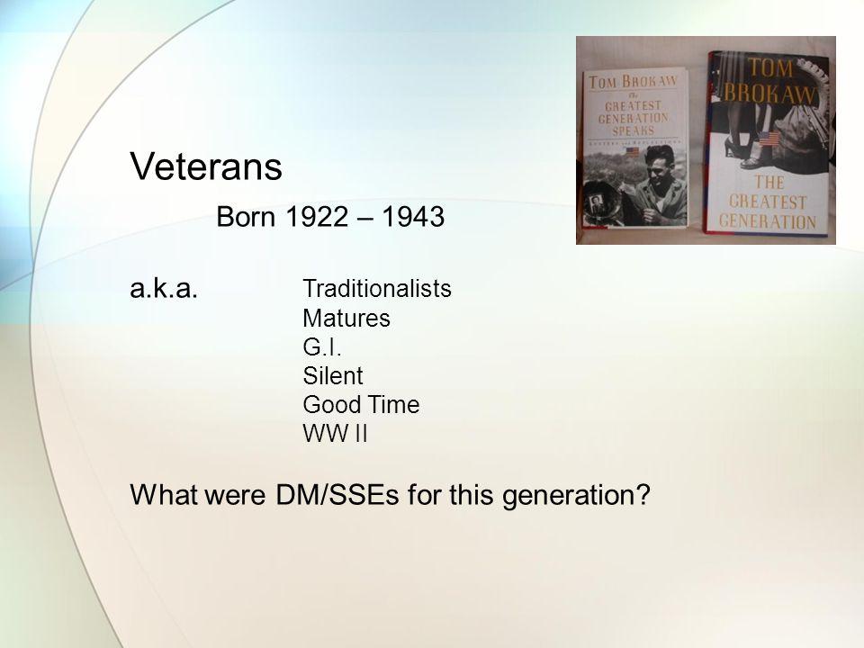 Veterans Born 1922 – 1943 a.k.a. Traditionalists Matures G.I.