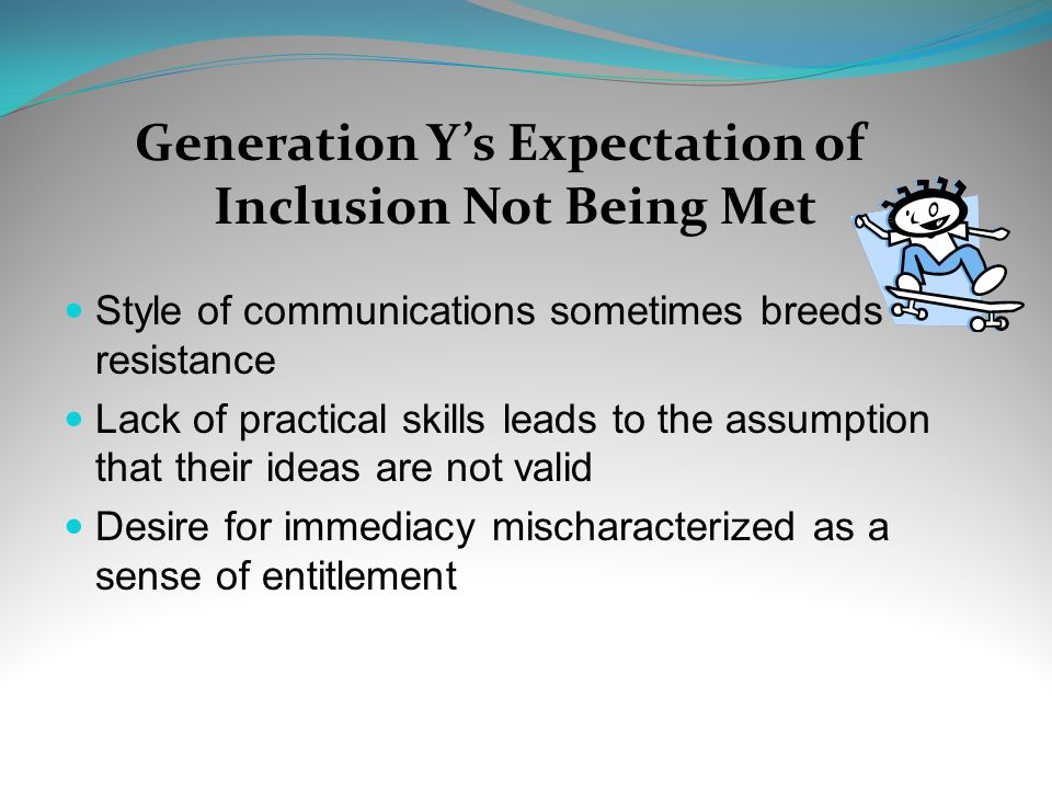 Generation Y's Expectation of Inclusion Not Being Met Style of communications sometimes breeds resistance Lack of practical skills leads to the assumption that their ideas are not valid Desire for immediacy mischaracterized as a sense of entitlement