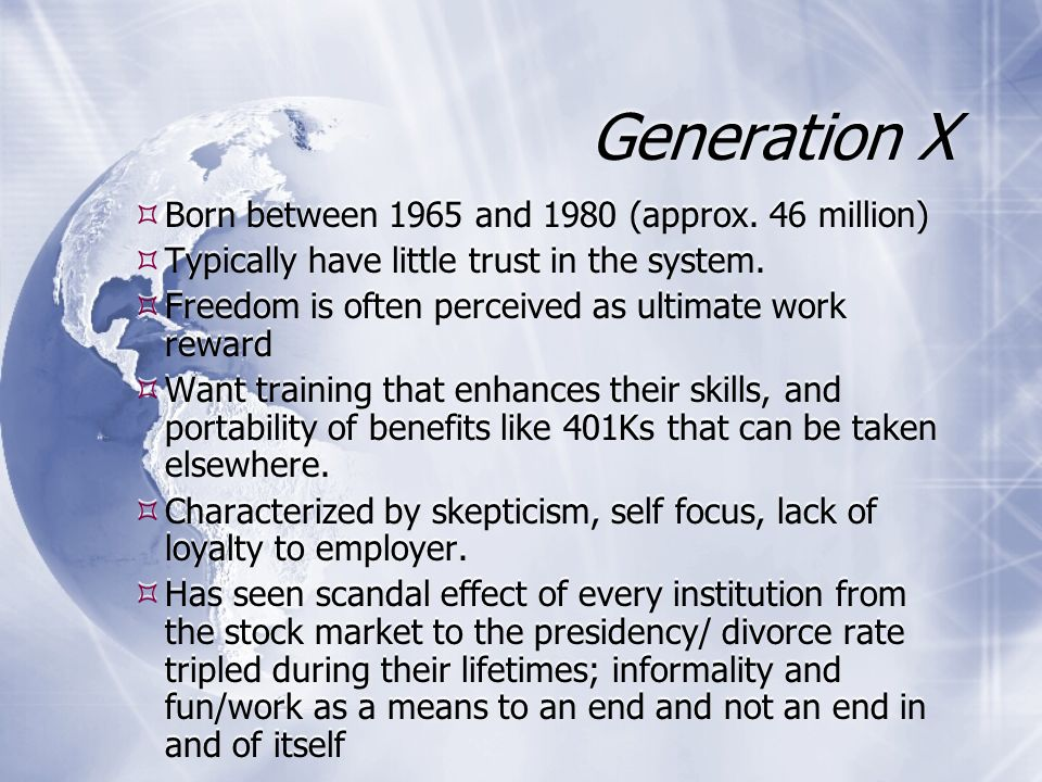 Generation X  Born between 1965 and 1980 (approx.